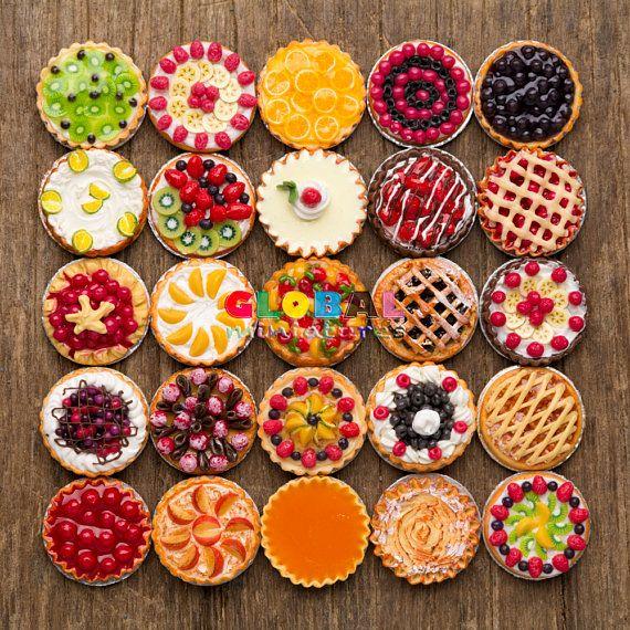 1:12 Dollhouse Miniatures Strawberry Pie Tart Food Supply Sweet Decorate