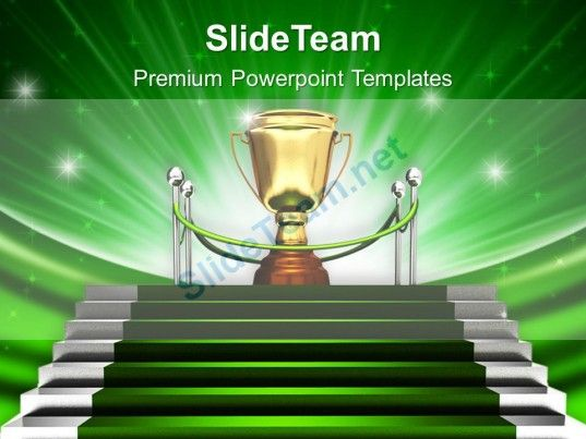 Green Stairway To Trophy Powerpoint Templates Ppt Backgrounds For Slides 0213 PowerPoint Themes Background