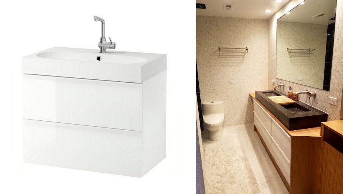 Ikea Items Used 3x Godmorgon Gloss White Vanities Photo Ikea Com  # Muebles Godmorgon Ikea
