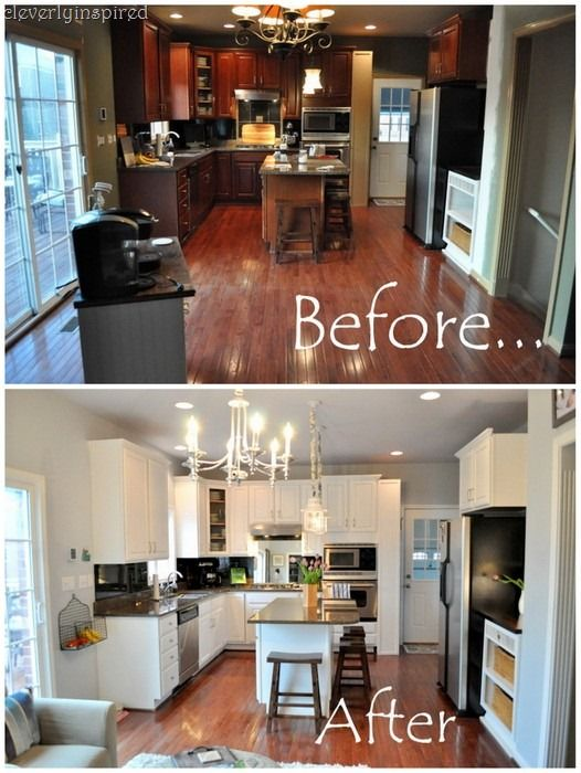 how new lighting and paint brightened up a dark kitchen - Behr Paint Kitchen Cabinets