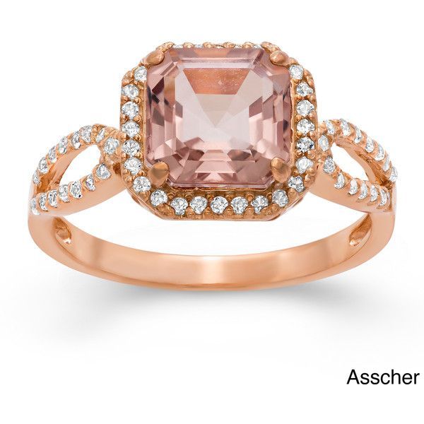 Gioelli Rose Gold/ Silver Simulated Morganite and Created Sapphire... ($77) ❤ liked on Polyvore featuring jewelry, rings, champagne, silver heart ring, champagne sapphire ring, oval sapphire ring, wide silver ring and heart shaped rings