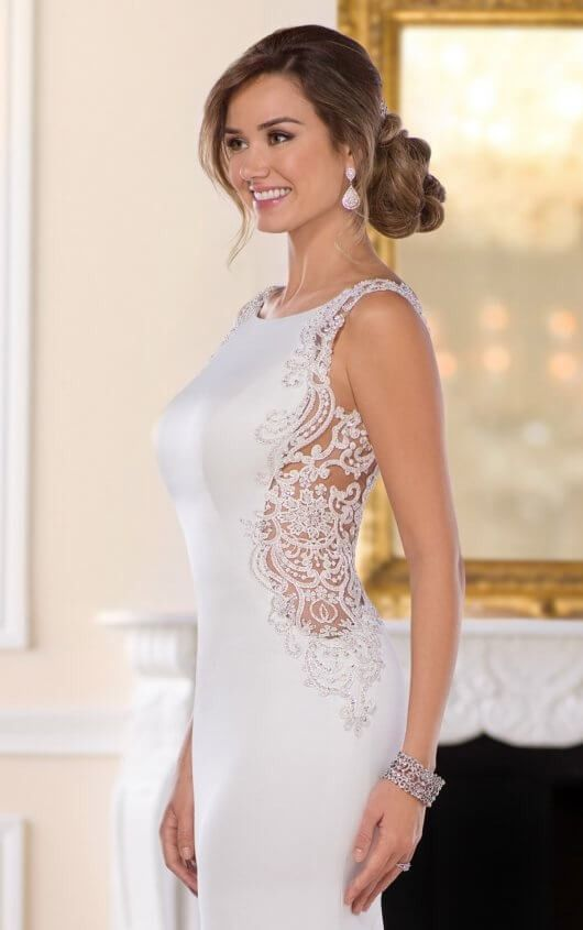 6534 Backless Sheath Wedding Gown by Stella York