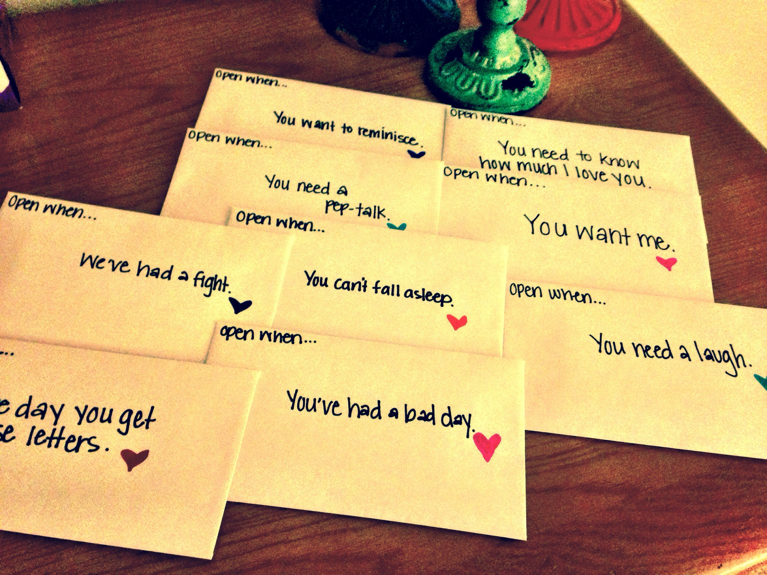 Open when...letters to loved ones for different feelings