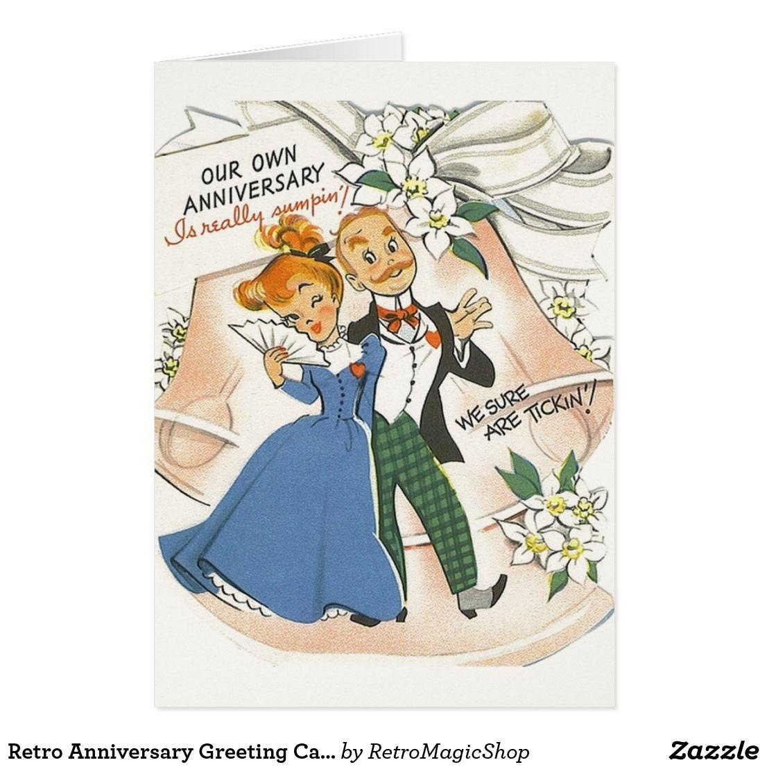 retro anniversary greeting card  zazzle  vintage