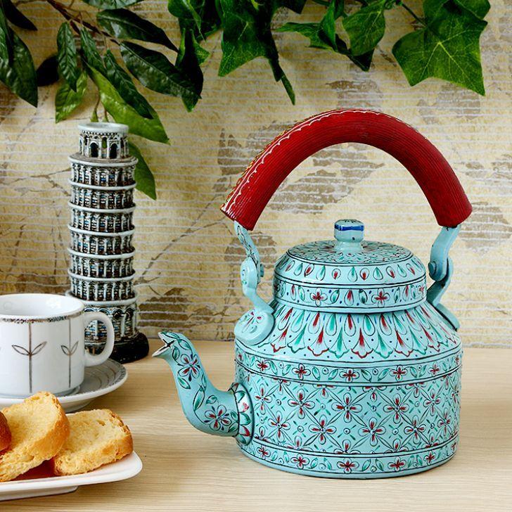 Kaushalam Tea Kettle Light Blue Red Fabfurnish Com Kitchen Decor Tea Kettle Kettle Painted Teapot