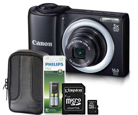 Promotie Camera Foto digital Canon A810B, 16 MP, Card 4GB, Geanta, Incarcator