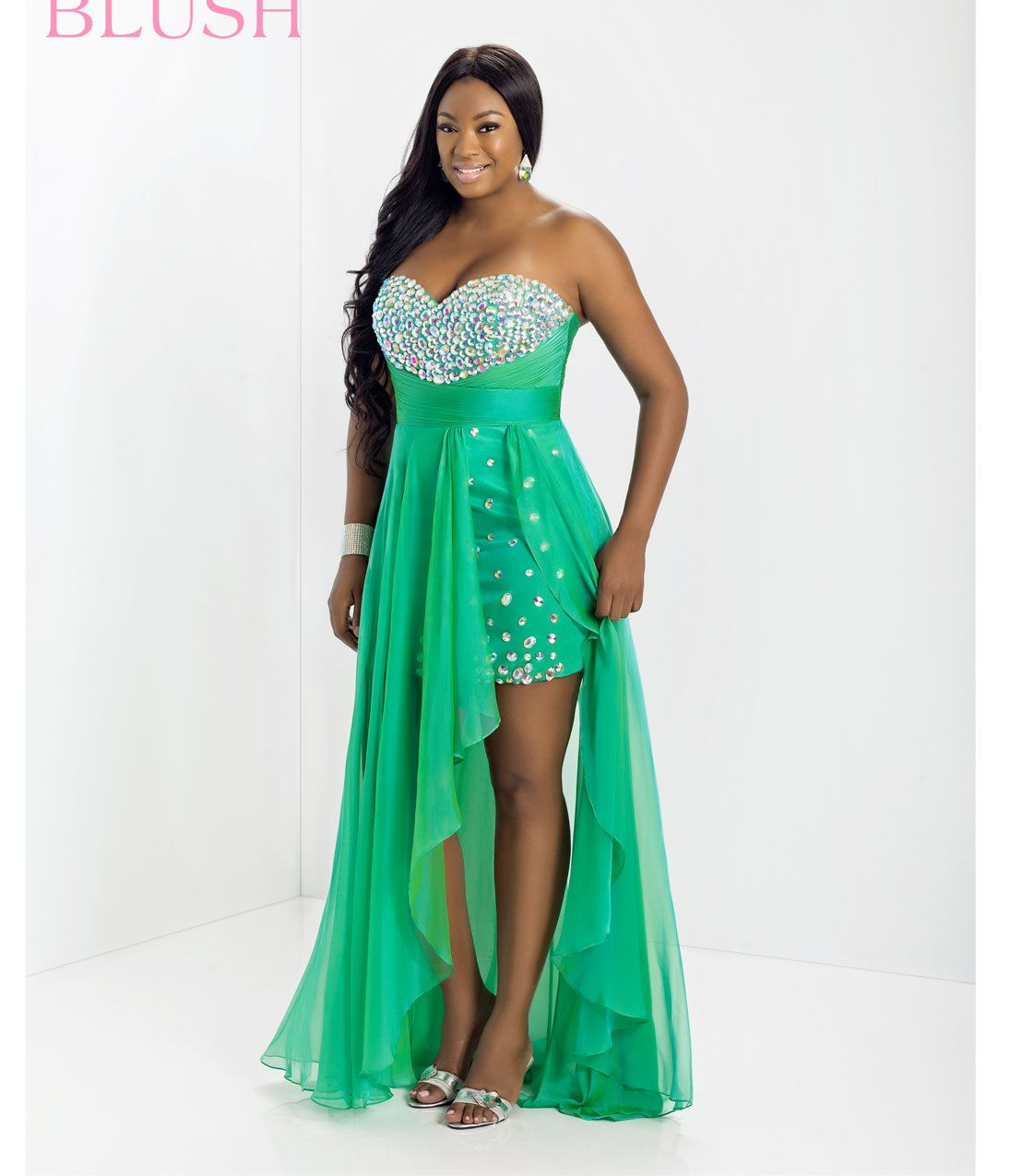TOO by Blush Plus Size 2014 Prom Dresses - Spring Green Beaded ...