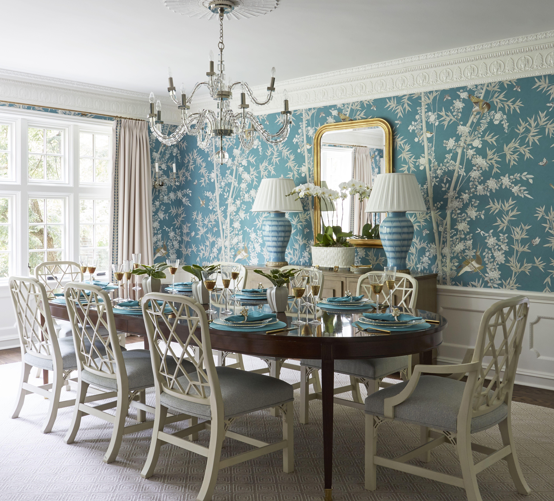 Wallpapered dining room. Blue wallpaper. Formal dining