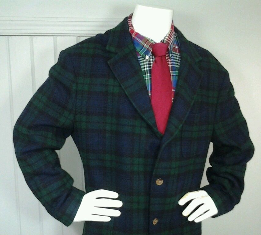 RARE Tommy Hilfiger Blackwatch Plaid Tartan Wool 44 R mens Sport ...