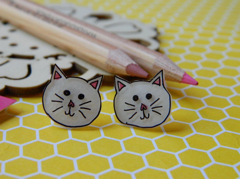 White Cat Small Plastic Stud Earrings by PinkSunflowerStudio on Etsy
