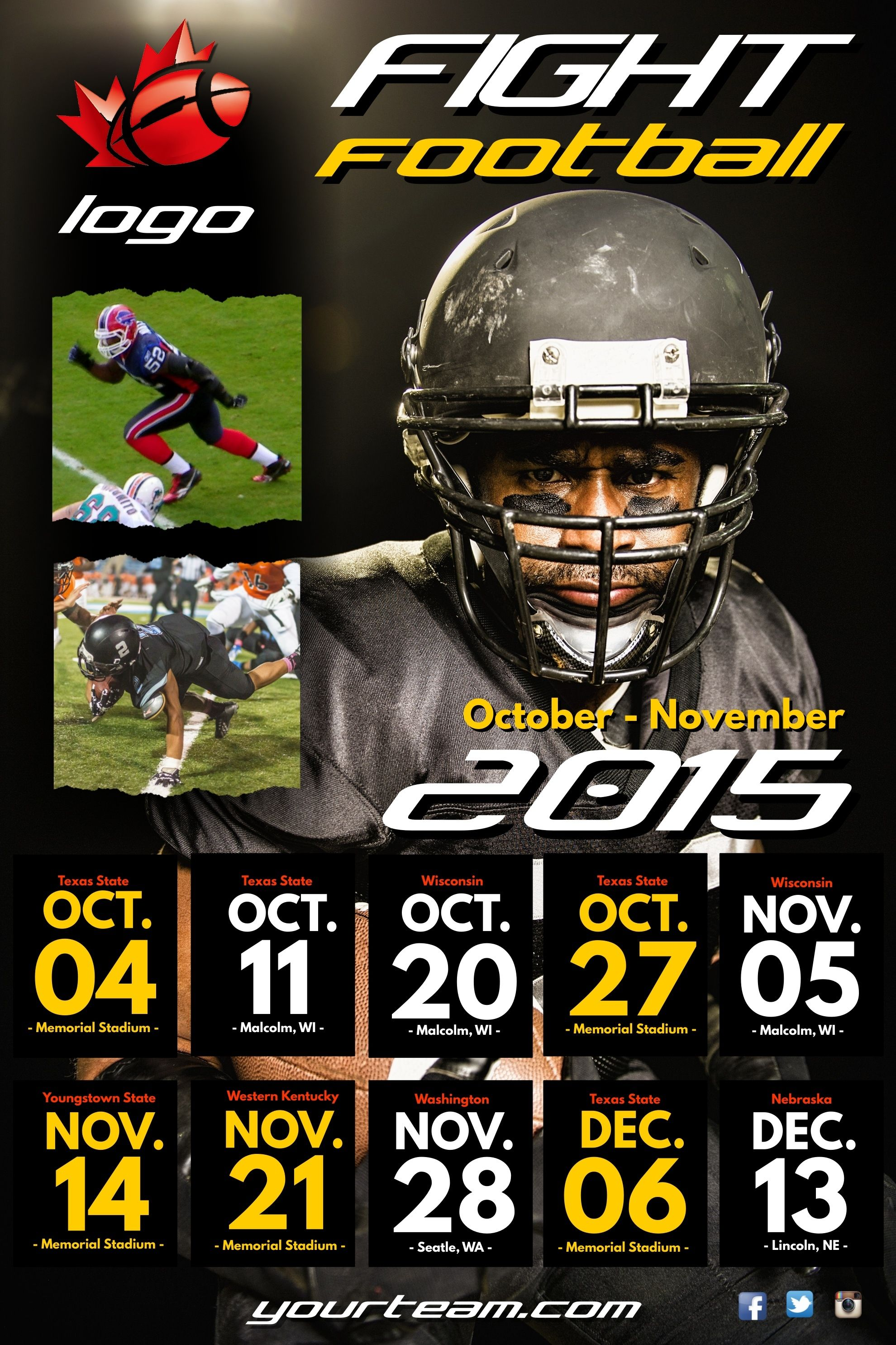Football Schedule Poster Flyer Social Media Post Template