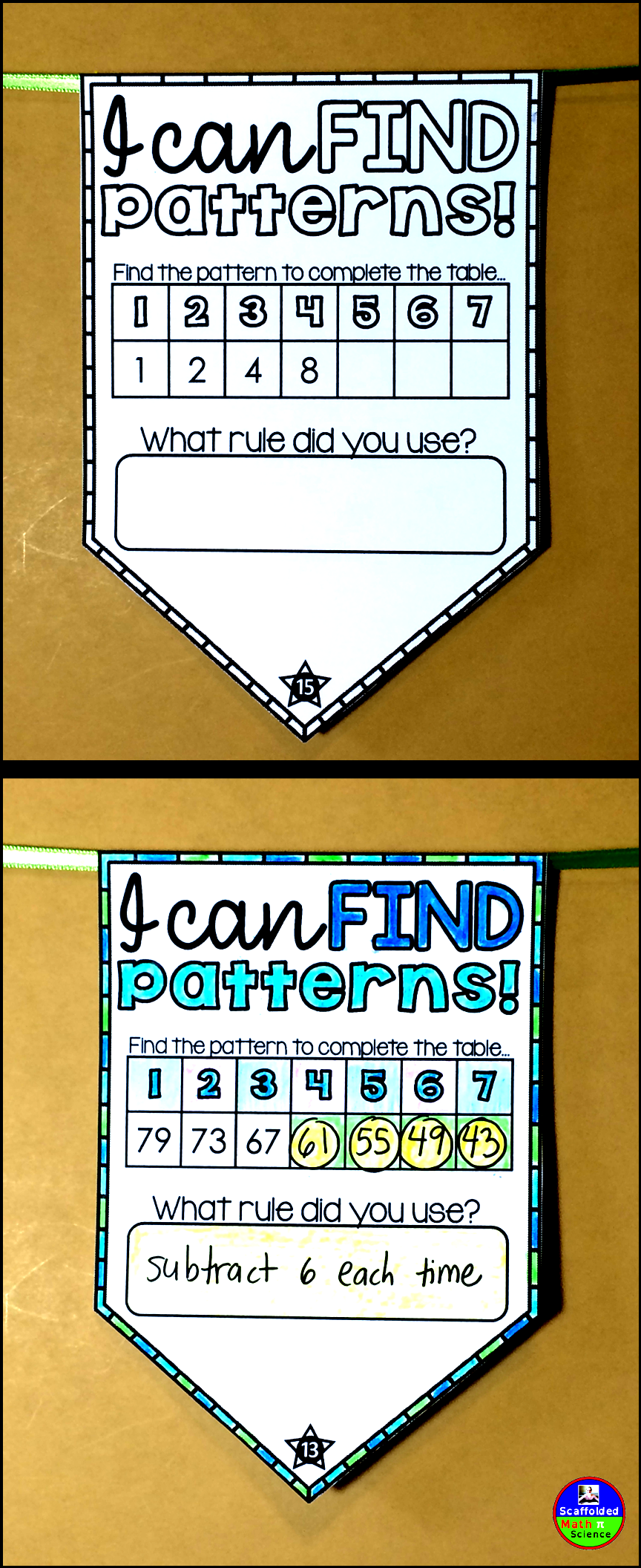 Patterns And Sequences Math Pennant Activity Math Pennant Math