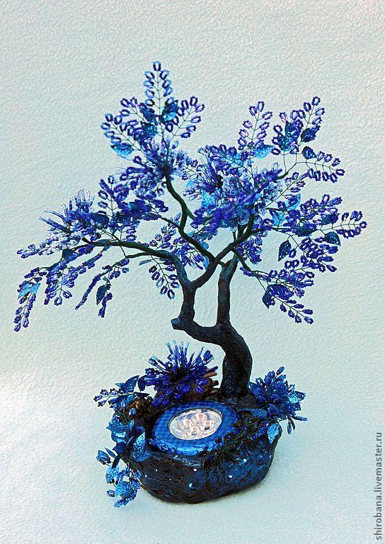 Купить дерево из бисера ночник Цветущее в Ночи - синий, черный ...