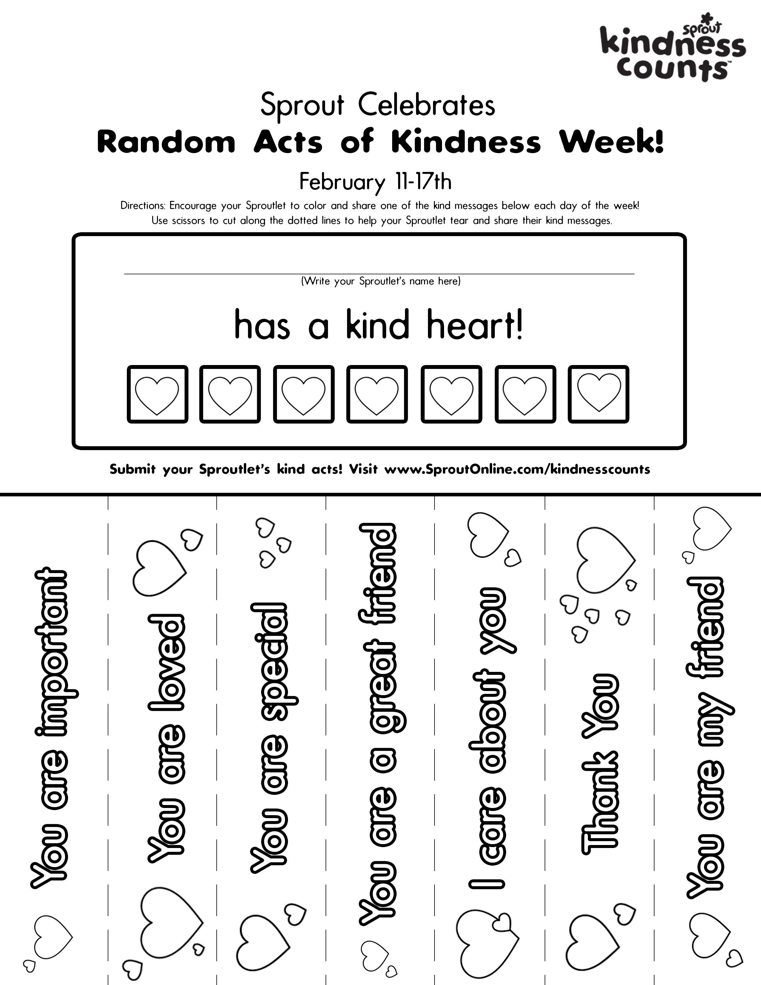 Random Acts Of Kindess Printable