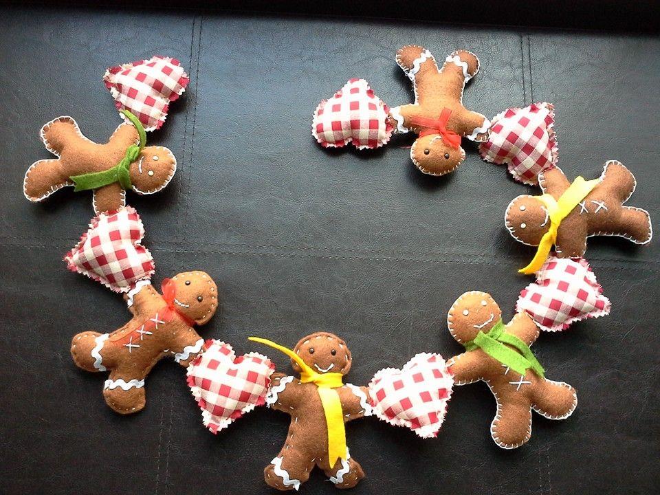 Felt Gingerbread Man Garland and Template SEW awesome! Dolls - gingerbread man template