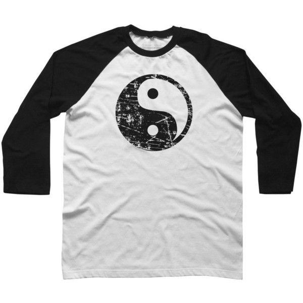 3284359548d81 Amazon.com: Yin Yang Grunge - Black Men's Raglan Sleeve Baseball Tee ...