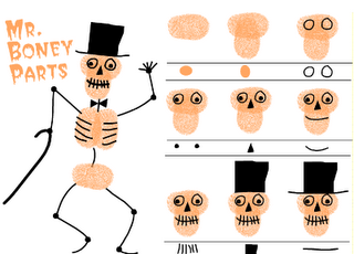 How to Skeleton with thumbprints! Love it! My Mommy Reads: Teacher Action