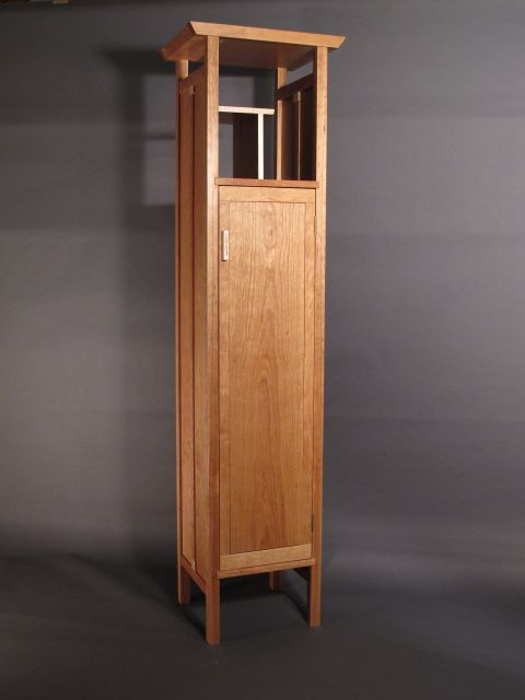 Zen Bookcases Tall Narrow Cabinet Chimney Linen Pantry Midcentury