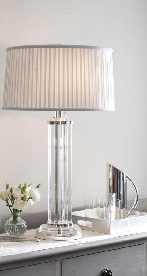 Contemporary Setting Features Modern Crystal Table Lamp With Silver