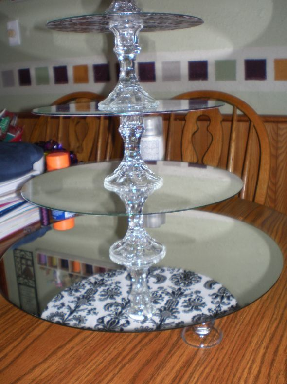 diy cupcake stand made from dollar store mirrors and glass candlesticks