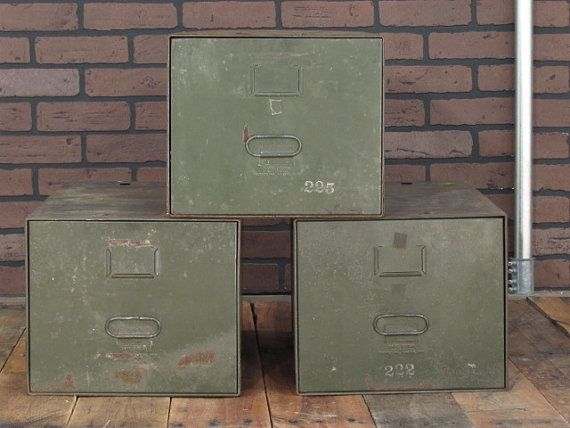 Vintage File Cabinet Stacking Metal Sections. Industrial Antique Army Steel