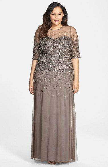 8fac022364671 Adrianna Papell Beaded Illusion Gown (Plus Size)
