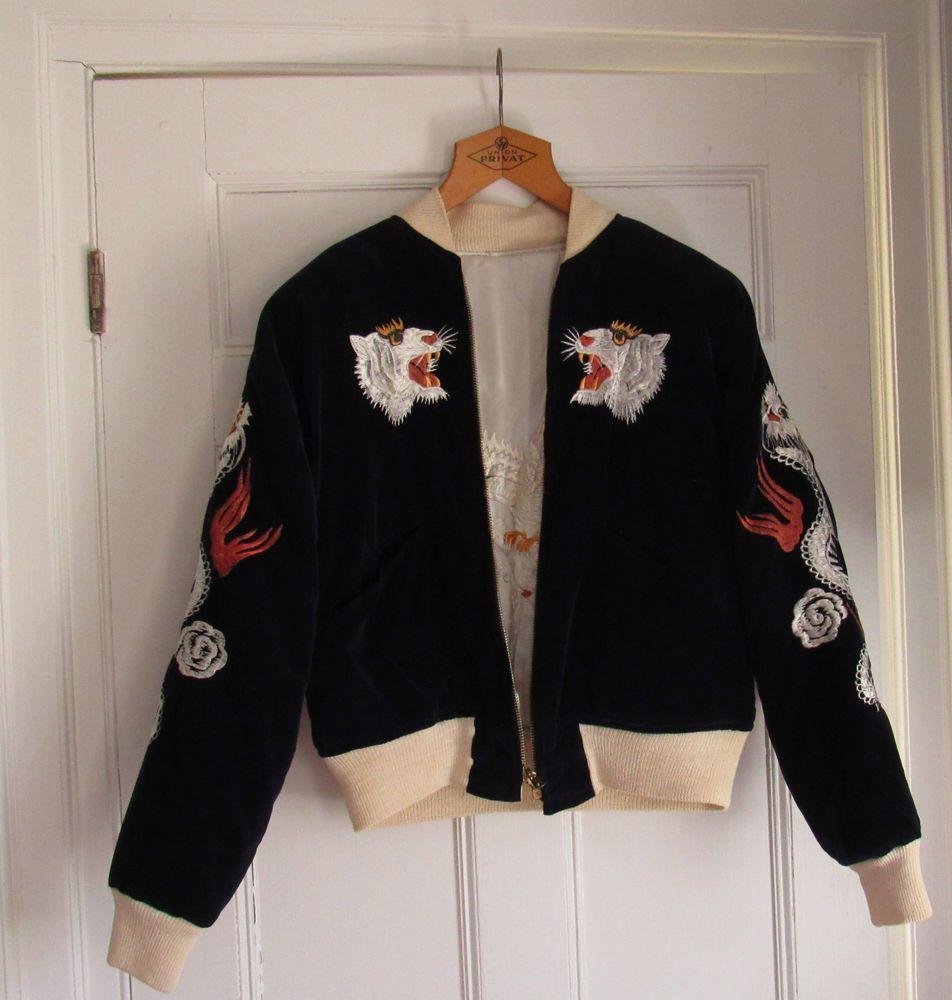 Bomber Jacket 1940s 1950s Wwii Era Reversible Japan Tokyo Embroidered Dragon Bomber Jacket Jackets Vintage Fashion [ 1000 x 952 Pixel ]