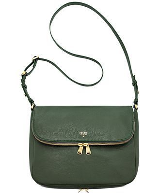 18fffe0832 Fossil Preston Leather Flap Shoulder Bag - Fossil Handbags - Handbags    Accessories - Macy s IN DARK GREEN  198