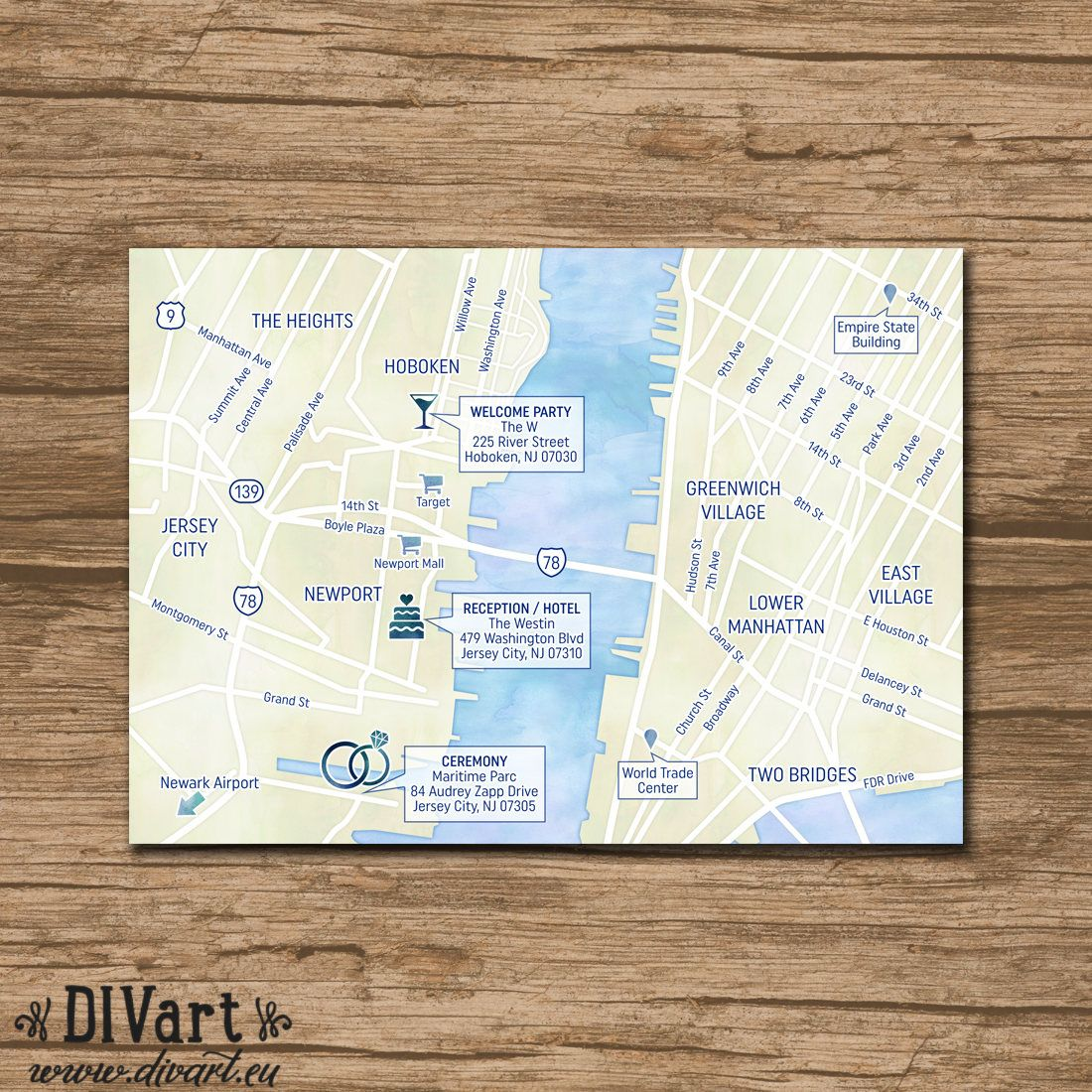 custom wedding map event map directions locations printable