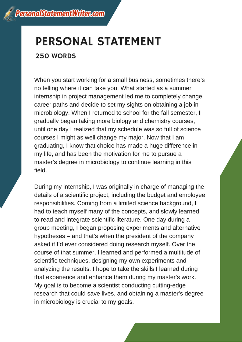 250 Word Personal Statement Sample Which Will Prove That Less Is More See More Samples Here Http Www Personalstatementwr Personal Statement Statement Person