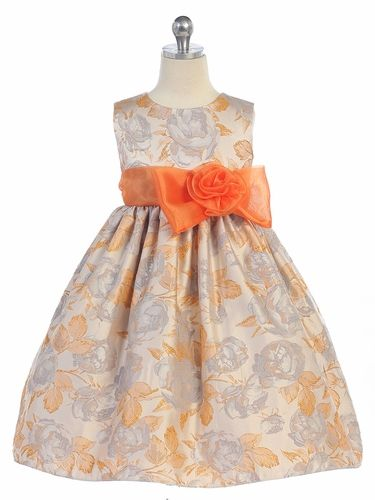 48fa358a87fd6 Orange Flocked Flower Dress | Orange & Coral Flower Girl Dresses ...