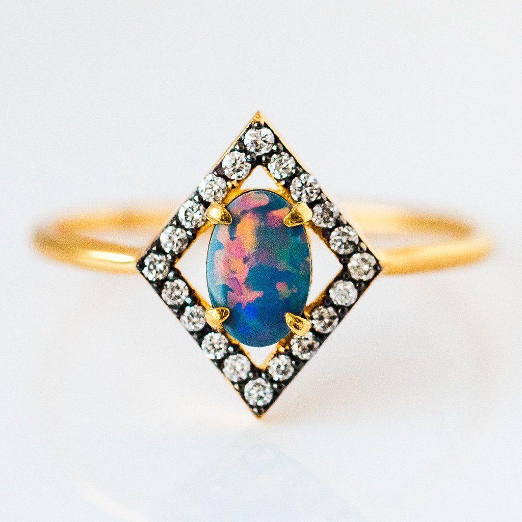 Australian Blue Opal & Diamond Ring Opal diamond ring