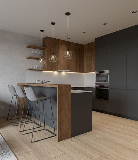 Design by For life.Visualization by Ekaterina Domracheva. #greykitcheninterior