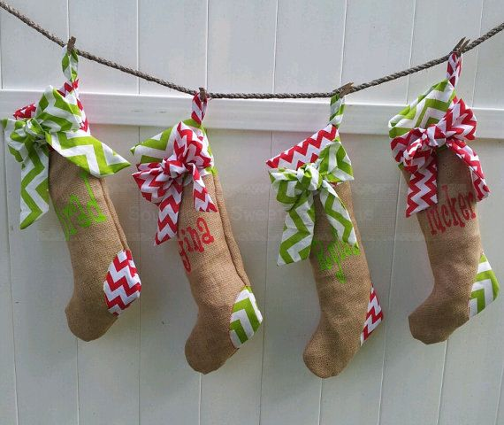 Christmas Stockings Set of 6 Chevron by scrubheaven on Etsy, $132.00....brilliant way to hang stockings when you don't have a mantle!!!