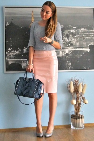 light pink pencil skirt OMG Fashion skirt - silver cropped OMG ...
