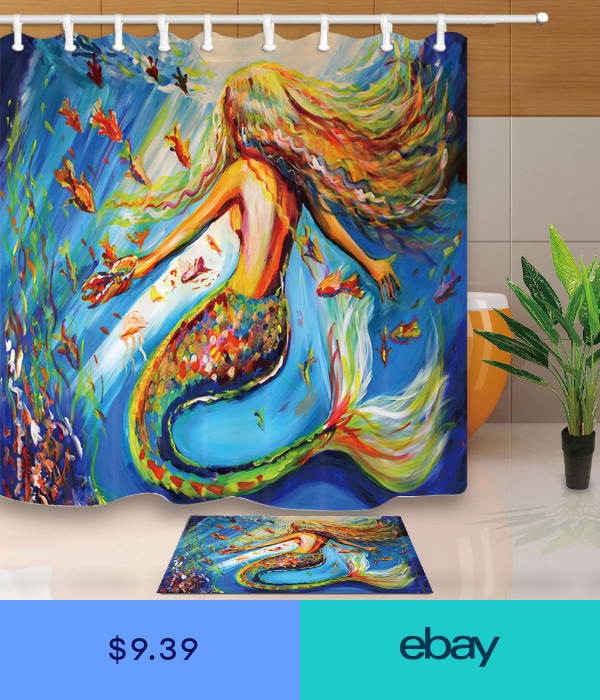 Oil Painting Colorful Mermaid Shower Curtain Set Fabric 12 Hooks