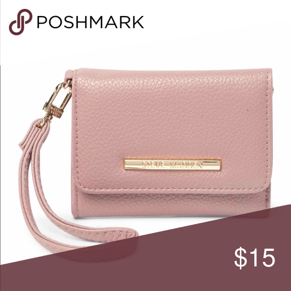 bb29414bcdc Steven Madden French Wallet Wristlet is bisque cream and gold in color and  made with PVC