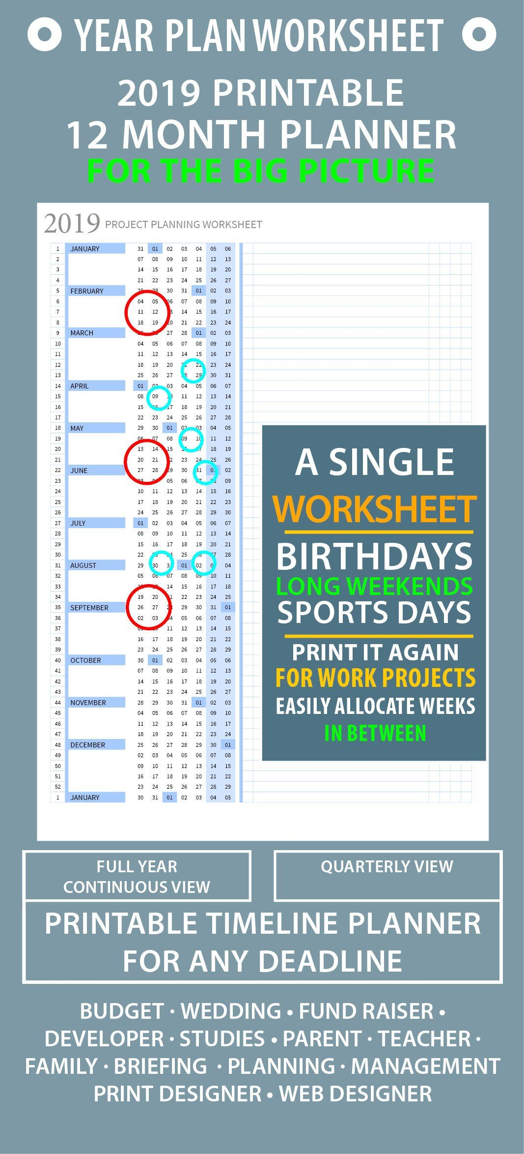 Full Year At A Glance Worksheet Printable Timeline
