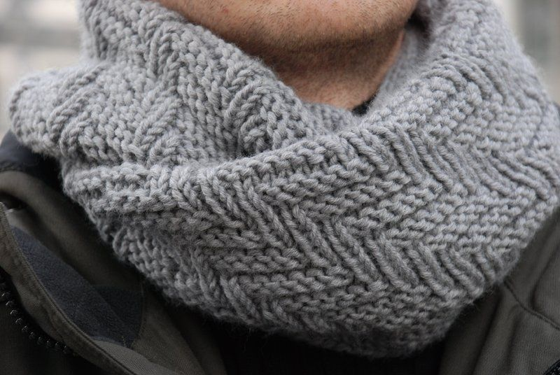 Fishbone Snood; free pattern | Knitting: Unisex Scarves with Cables ...