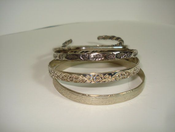 Vintage Bangle Bracelets / possible sterling / by ScootersShop, $24.00