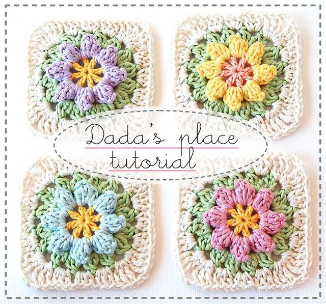 Dada\'s place: Primavera Flowers Granny Square Tutorial | Crochet ...