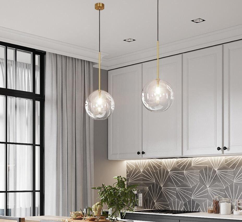 Modern Clear Glass Pendant Lights dia 10/10/10/10CM glass ball