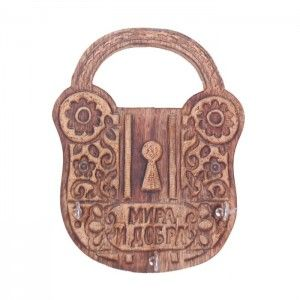 Onlineshoppee Wooden Antique Lock Shape Key Holder