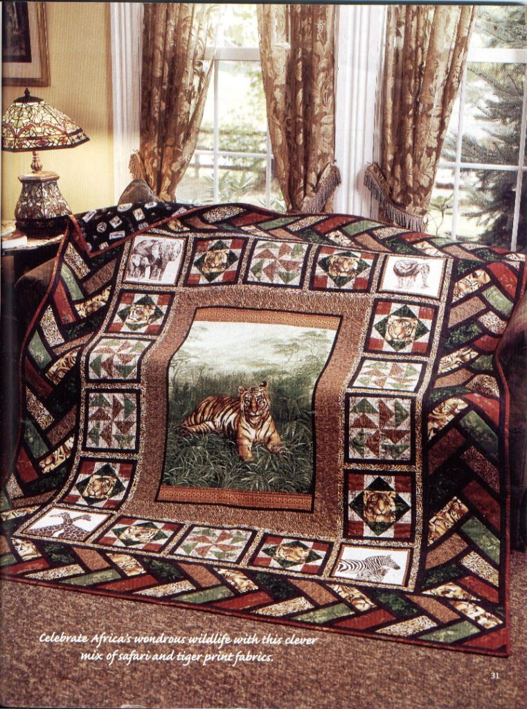 Out of Africa, A Handmade Wildlife Safari Tiger Print Twin Size Quilt by TBQSC on Etsy