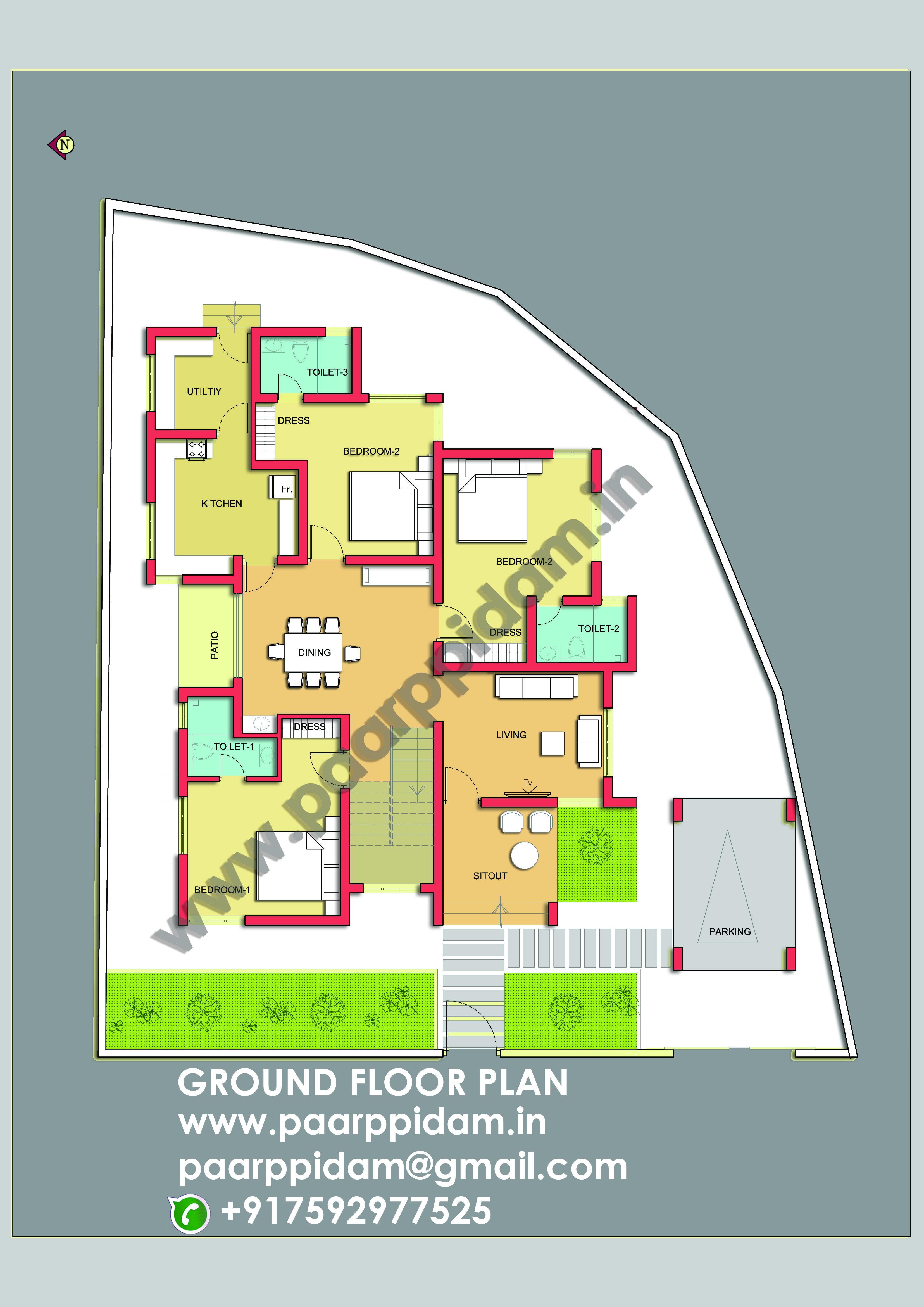 3 Bedroom Villa Plan Kerala India Villa Design Small House Plans Villa Plan