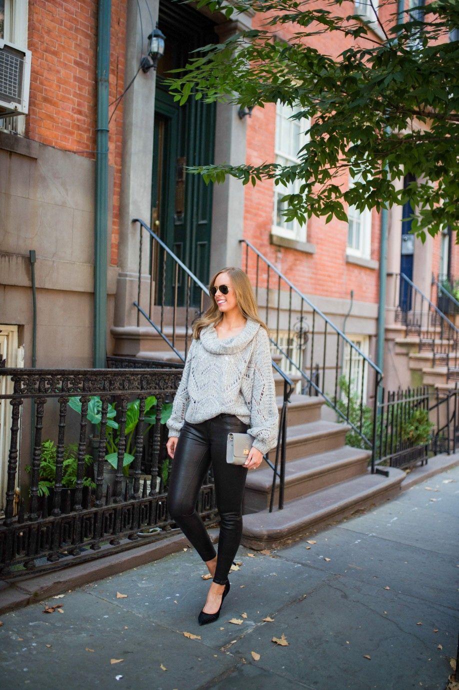 4befb77c435 Sweater Weather Look! #cozy #chunkysweater #leatherpants #blackandgrey  #fashionblogger