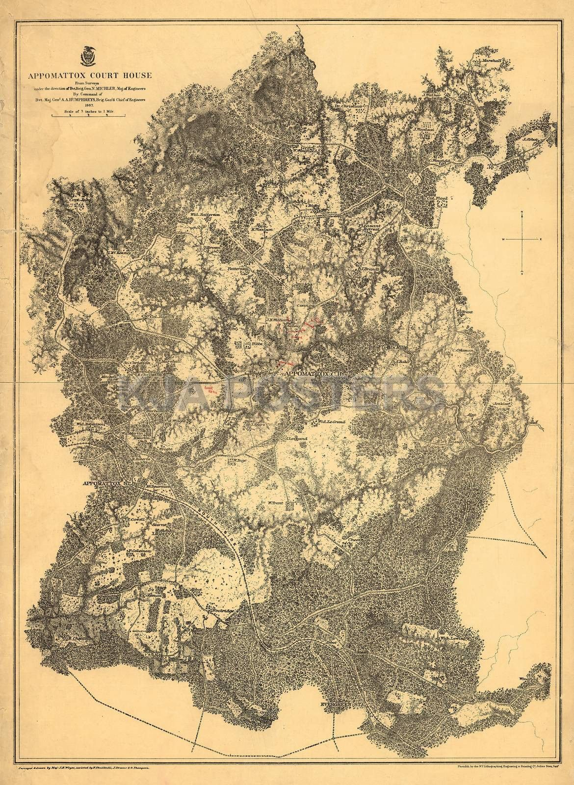 Civil War Map Appomattox Court House 1865 Products