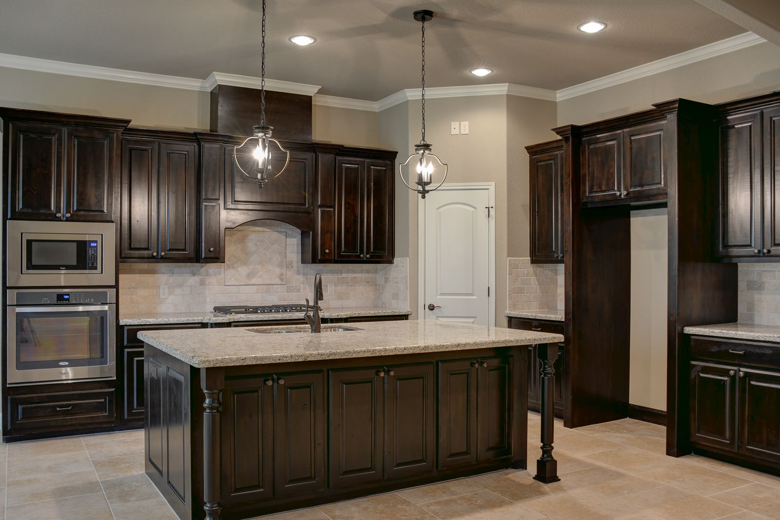 Black walnut stained knotty alder cabinets. | Kitchens ...