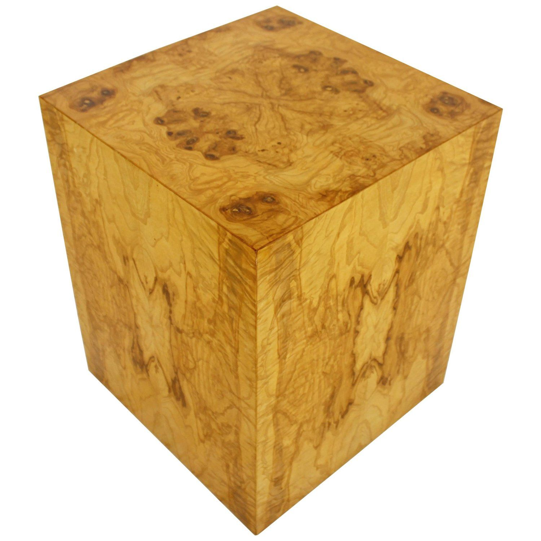 Mid Century Modern Milo Baughman Burl Wood Cube Pedestal Side End Table 1970s Burled Wood Wood Cube Cube Table