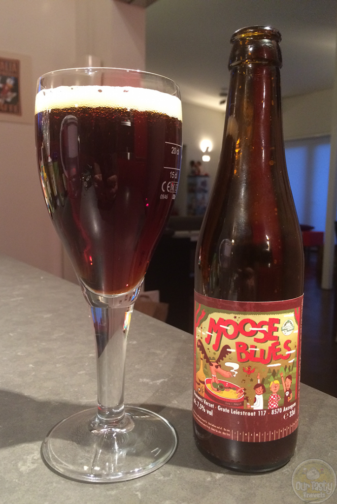 16-Sep-2015: Moose Blues by Brouwers Verzet. Smells sweet and a bit alcoholic. But not the taste. Taste is darker and more bitter. More in line its 7.5%. High carbonation in the mouthfeel, which may block some of the sweet in flavor of the richer flavors. #ottbeerdiary